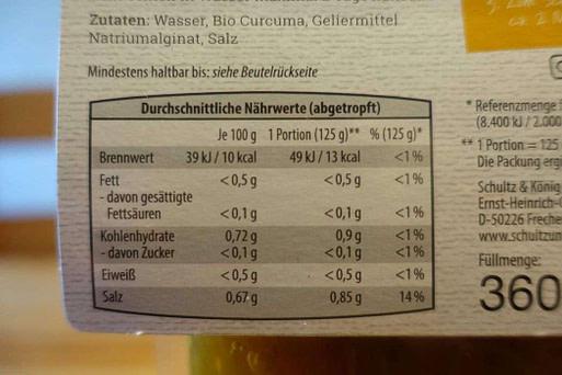 Schultz und Koenig Bio Curcuma Nudeln aus Alginat